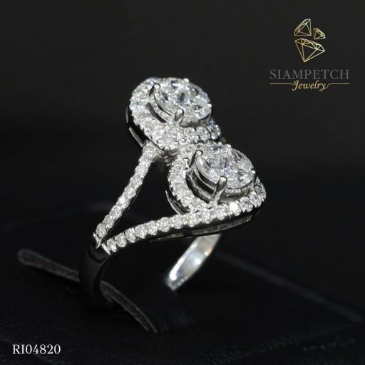 แหวนเพชรประกบกลมหน้าเท่า 1 กะรัต ล้อมเพชร น้ำ100 RI04820
