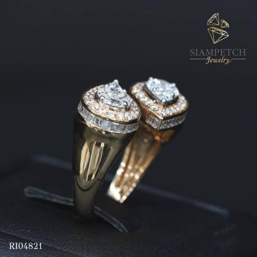 แหวนเพชรประกบรูปหยดน้ำหน้าเท่า 1.10 กะรัต ล้อมเพชร น้ำ100 RI04821