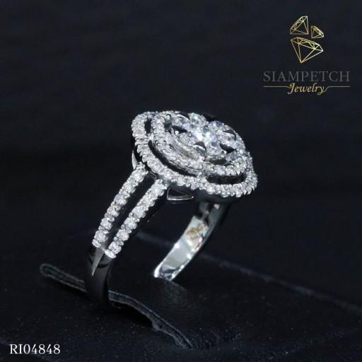 แหวนเพชรประกบเพชรน้ำ 100 RI04848