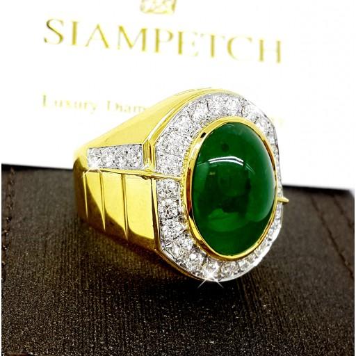 แหวนหยกพม่าชาย8.40กะรัตประดับเพชรน้ำ98