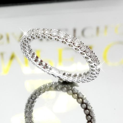 แหวนเพชร Eternity Ring เพชรไซด์2ตังค์ เพชรเบลเยี่ยมคัต น้ำ98
