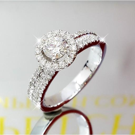 แหวนเพชรเม็ดกลางใบเซอร์ GIA  0.40กะรัต น้ำ97