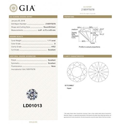 เพชรใบเซอร์ GIA 1.11กะรัต น้ำ 100(D)/VVS2/EX,EX,EX LD01013