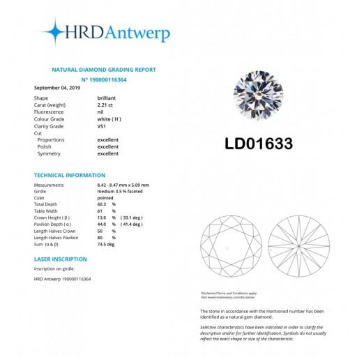 เพชรใบเซอร์ HRD 2.21กะรัต น้ำ 96(H)/VS1/EX,EX,EX LD01633