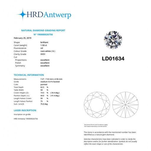 เพชรใบเซอร์ HRD 1.50กะรัต น้ำ 97(G)/VVS1/EX,EX,EX LD01634