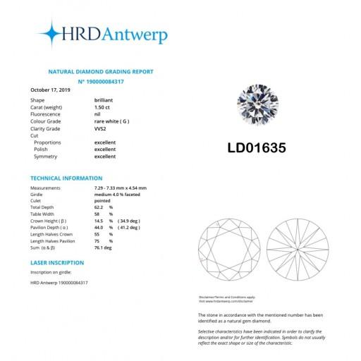 เพชรใบเซอร์ HRD 1.50กะรัต น้ำ 97(G)/VVS2/EX,EX,EX LD01635