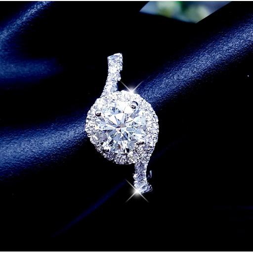 แหวนเพชรเม็ดกลาง 1.09กะรัต ใบเซอร์GIA