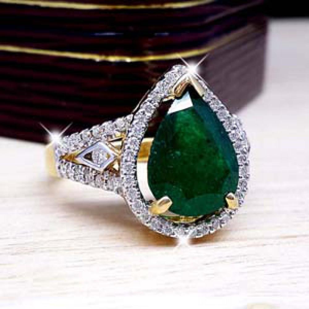 เพชรมรกต: แหวนมรกต 10.90 กะรัต ล้อมเพชร น้ำ98 RI01779