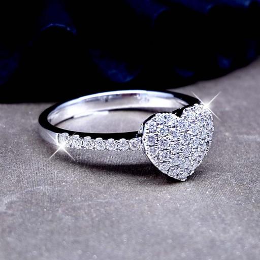 แหวนเพชรประกบหัวใจหน้า 1 กะรัต น้ำ100