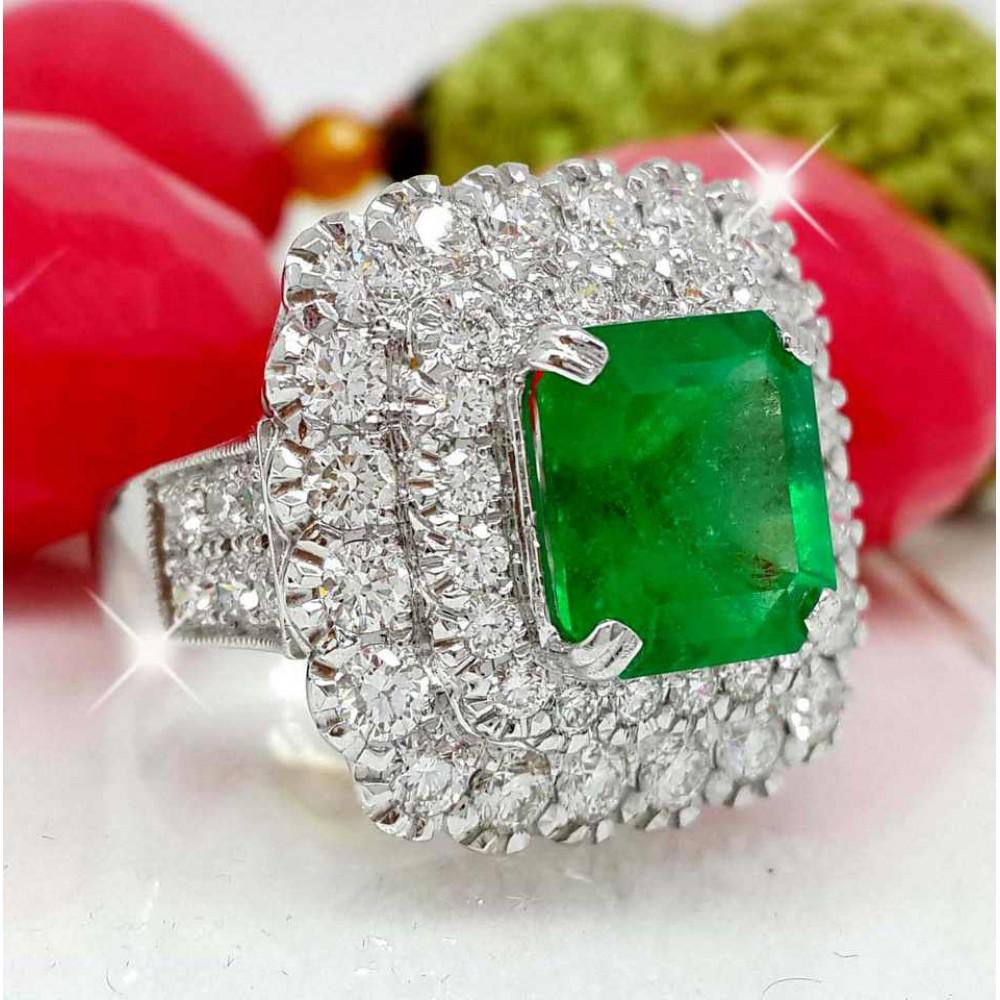 เพชรมรกต: แหวนมรกตโคลัมเบียล้อมเพชร น้ำ 98 มรกต 3.65 กะรัต RI002087